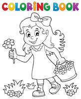 Coloring book girl with flower theme 1