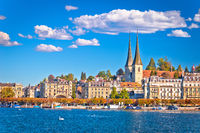 Idyllic Swiss town and lake Lucerne waterfront view