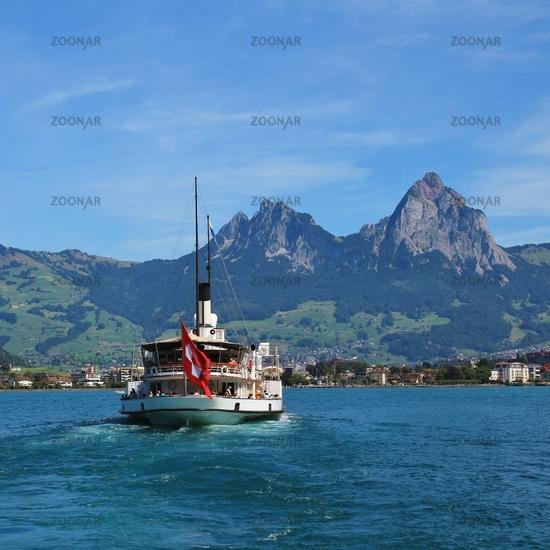 Ship on Lake Lucerne and Mount Grosser Mythen.