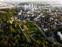 Aerial view of the botanical garden and the city of Kiev, Ukraine. Photo from the drone