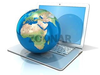 Laptop with illustration of earth globe, Europe and Africa view. 3D