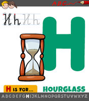 letter H worksheet with cartoon hourglass