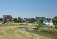 Village of Suederhafen on Nordstrand Peninsula,North sea,North Frisia,Germany