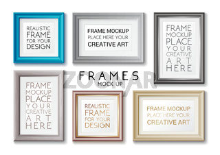 Realistic rectangular gold and blue frames set template, frames on the wall mockup with decorative borders