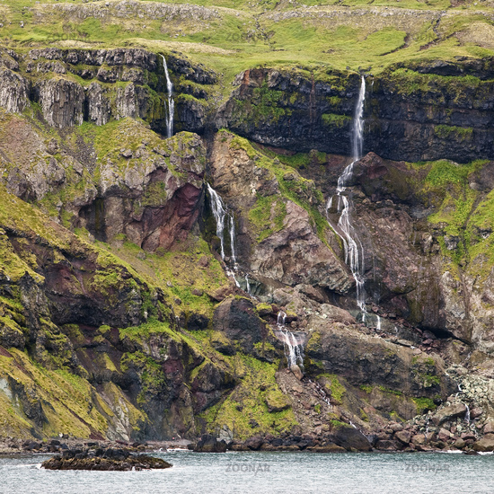 bluff at the fjord, Seydisfjoerdur, East Iceland, Iceland