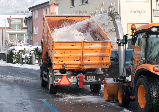Bad Ragaz, SG / Switzerland - January 11, 2019: city workers clearing snow from the roads in Bad Rag