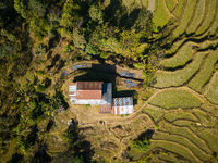 Aerial view of a house in Nepal