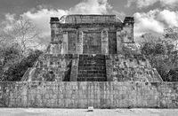 the temple of the bearded man in chichen itza in black and white the temple of the bearded man in chichen itza mexico