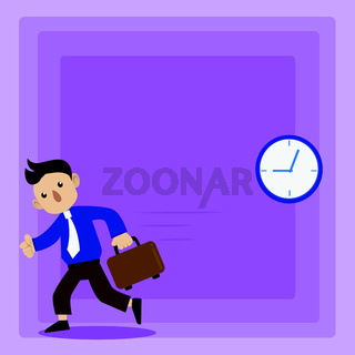 Man in Tie Carrying Briefcase and Walking Fast. Analog Wall Clock Hanging and Person with Bag Running in a Hurry. Creative Background for Appointment, Deadlines and Announcements.