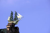 Sailing ships decorate the ornate gables of Globushof