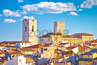 Historic French riviera old town of Antibes seafront and rooftops view
