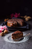 juicy poppy seed cake with apples and chocolate glaze