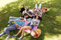 happy friends chilling on picnic blanket at summer