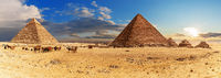 The Pyramid of Khafre and the Pyramid of Menkaure with small Pyramids, Giza complex panorama, Egypt