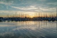 Sun setting on Emeryville Marina.