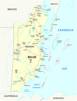 Road map of the Central American state Belize