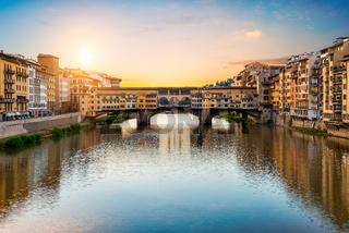 Morning sun over Vecchio bridge