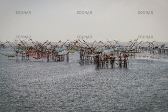 Fishig nets over Songkhla lake