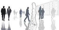 illustrated casual people in town, contour, silhouettes, isolated, white