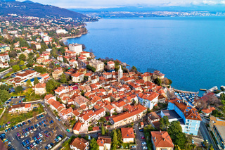 Town of Lovran and Kvarner bay aerial view
