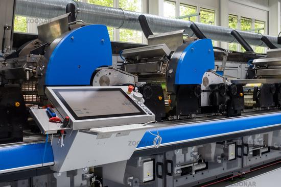 Industrial Label Printing Equipment Closeup Detail Control Panel Units Blue