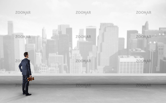 Businessman looking at a big city panorama