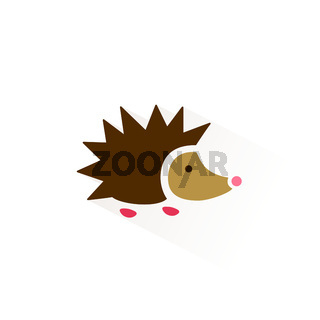 Hedgehog icon with shadow. Flat vector illustration