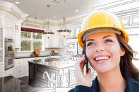 Female Contractor Using Cell Phone Over Kitchen Drawing Gradating to Photo