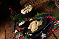 Polish Christmas pierogi with sauerkraut and mushrooms