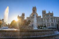 Madrid Spain, city skyline sunrise at Cibeles Fountain and CentroCentro