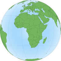 Illustration of Earth globe with focused on Africa