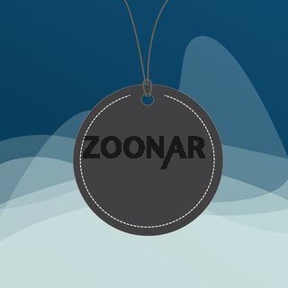 Circle shaped label attached by black string on the top. Colorful background with a small rounded empty badge colored tag on surface with blank space.