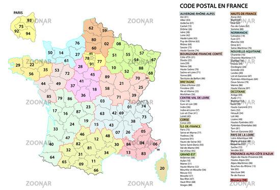 france 2 digit postcodes postal codes vector map