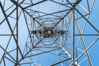 electricity pylon with blue sky