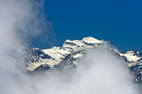 Cloud veils at the Grand Combin massif, Pennine Alps, Bourg-Saint-Pierre, Valais, Switzerland