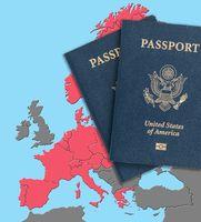 US passports on map of Schengen Zone