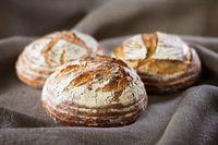 Three industrial round rye bread