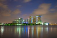 Singapore city skyline view from Marina Barrage in Singapore