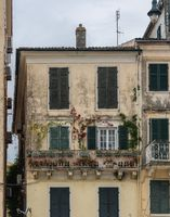 Old house in Liston plaza by Spianada square in Old Town Corfu