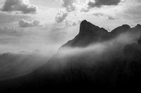 Misty mountain peak in monochrome.
