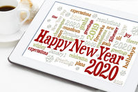 Happy New Year 2020 word cloud
