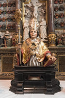 beautiful ancient wooden valentine s reliquary sculpture decorated on the altar inside church st valentin kiedrich germany
