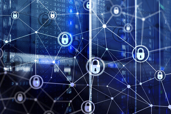 Cyber security, information privacy, data protection concept on modern server room background. Internet and digital technology concept.