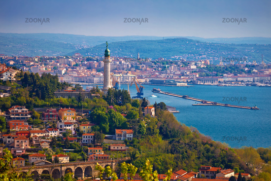Trieste lighthouse and cityscape panoramic view