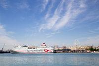 Cruise ship anchored In Malaga Harbor, Spain