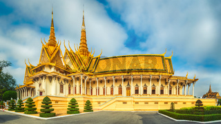 The throne hall inside the Royal Palace in Phnom Penh, Cambodia. Panorama