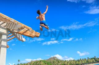 Jumping from Waikiki Pier