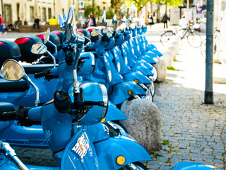 Vespa rental in the center of Stuttgart, Germany