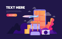 Summer holiday vacation booking online concept with flat icons. Vector illustration.