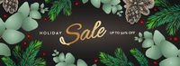 Holiday Sale horizontal poster. Christmas template with branches eucalyptus, spruce branches and berries on dark background. Winter background, vector illustration.
